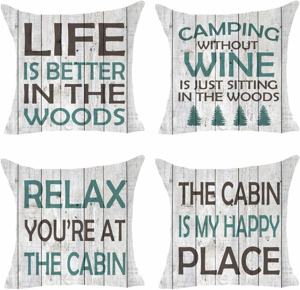 Set of 4 Words Life Is Better In The Woods Relax You Are At The Cabin My Happy Place Wood Grain Tree Pillows Cotton Linen Decorative Home Office Throw Pillow Case Couch Cushion Cover 18X18 inches