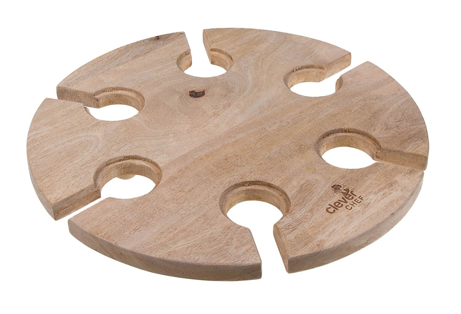 Premium Wine Glass Serving Table by Clever Chef   Made of Mango Wood   Holds 6 Wine Glasses
