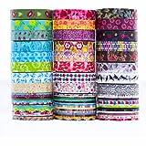 Set di nastri Rolls Washi - 24 rotoli 8 mm di larghezza e 20 rotoli 3 mm di larghezza, nastro adesivo decorativo per fai da te artigianale Scrapbooking confezione regalo