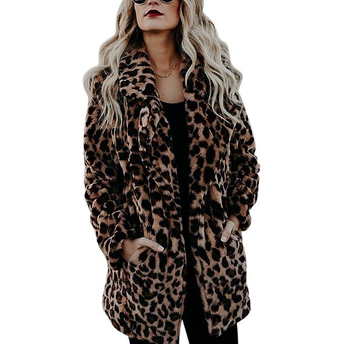 Ibaste Lungo Cappotto Leopardato Sintetica Pelliccia Donna Giacca 35qjc4ARLS