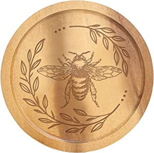Cute Floral Honey Bee Engraved Lazy Susan Wood Turntable for Table, Cabinet and Kitchen, Marketplace, Farmhouse Family Dinning Home Housewarming Christmas Decor Gift