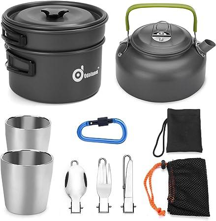 Odoland Kit de Utensilios Cocina Camping con Ollas y Sartén de Aluminio Hervidor Tazas Cubiertos Plegable para Acampada, Cacerolas de Acampada de ...