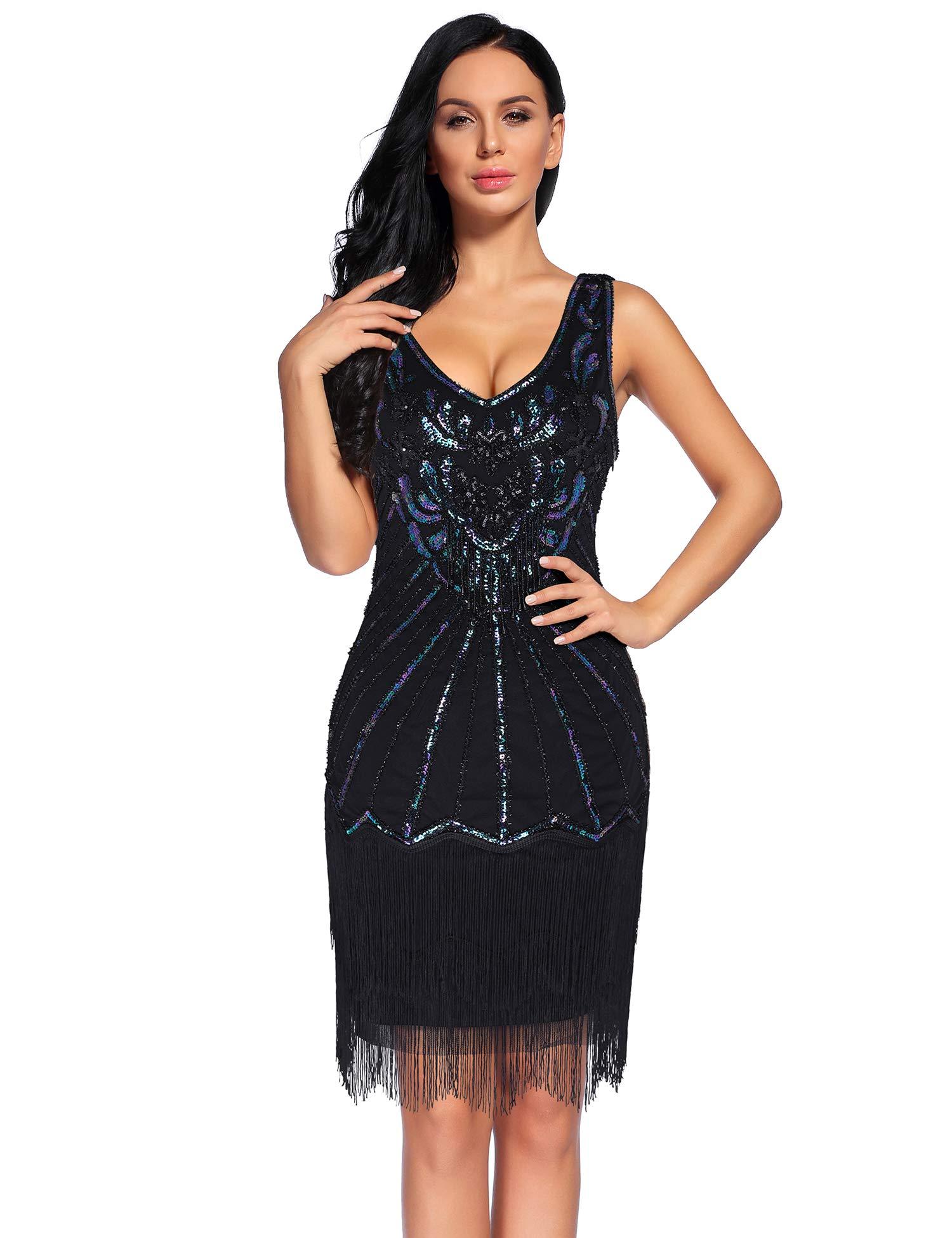 f072db6e383 Women s 1920s V Neck Flapper Dress Sequin Embellished Gatsby Tassels  Cocktail Dress (Black