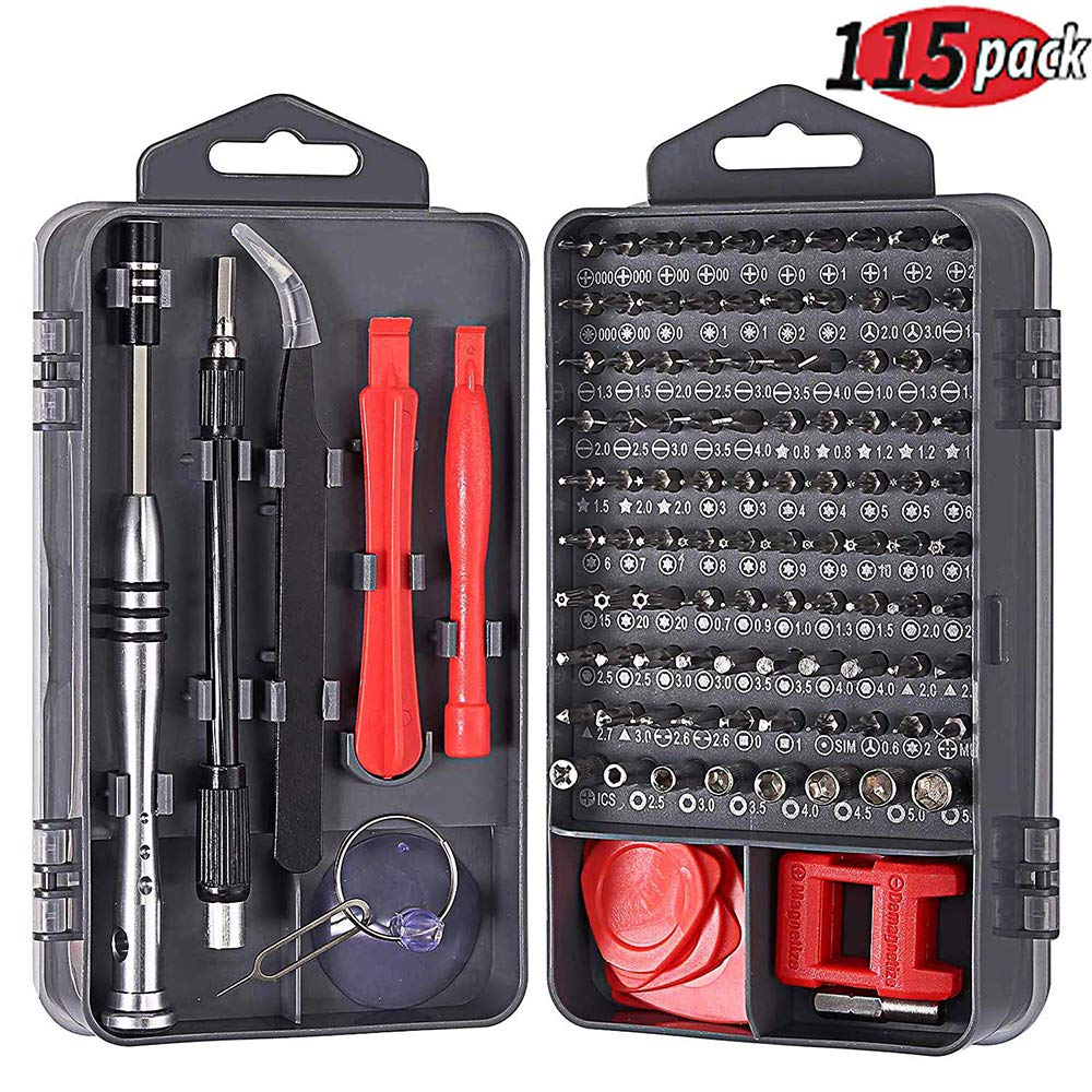 115 in 1 Precision Screwdriver Set Justech Magnetic Driver Kit Professional Electronics Repair Tool Kit for Repairing PC MacBook Pad Laptop Watch Glasses Smartphone