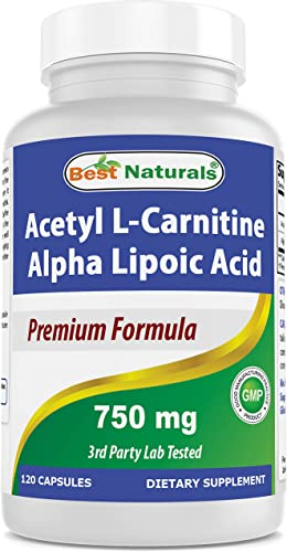 Best Naturals Acetyl L-Carnitine and Alpha Lipoic Acid 750 mg 120 Capsules