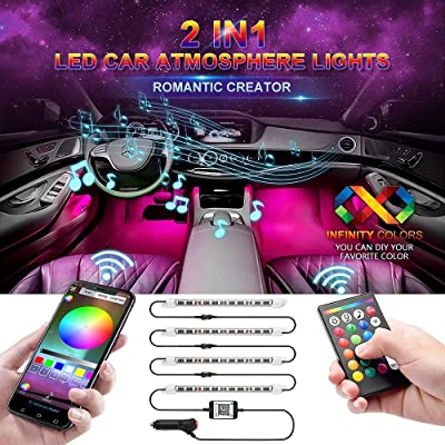 wsiiroon Car LED Strip Light, Newest Style Remote and APP Control Car Interior Lights, Upgrated 16 Fixed Colors, Infinite DIY Colors, New Type Lamp Strip, Sound Active Function(DC 12V): Automotive