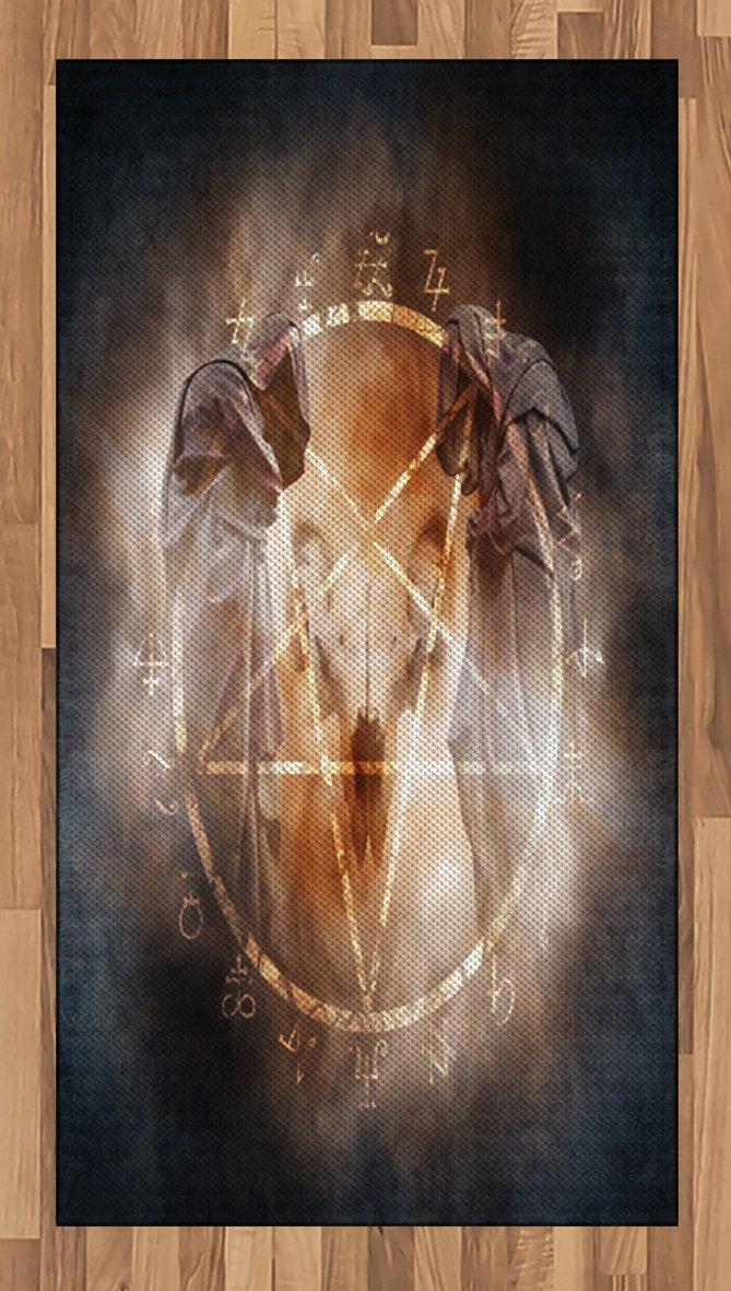 Lunarable Horror House Area Rug, Pentagram in Flames Black Magic Ceremony Ritual Lucifer Demonic Occult Skull, Flat Woven Accent Rug for Living Room Bedroom Dining Room, 2.6 x 5 FT, Gray Orange