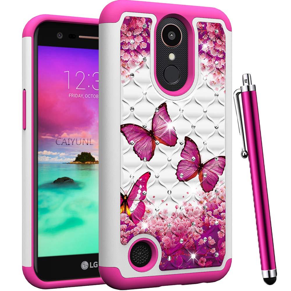 CAIYUNL for LG K20 Plus Case, LG K20 V/LG Harmony/LG Grace/LG K20 /LG K10 2017 / LG LV5 Case Bling Luxury Studded Rhinestone Dual Layer Hybrid Protective Shockproof Hard Cover-Hot Pink Butterfly