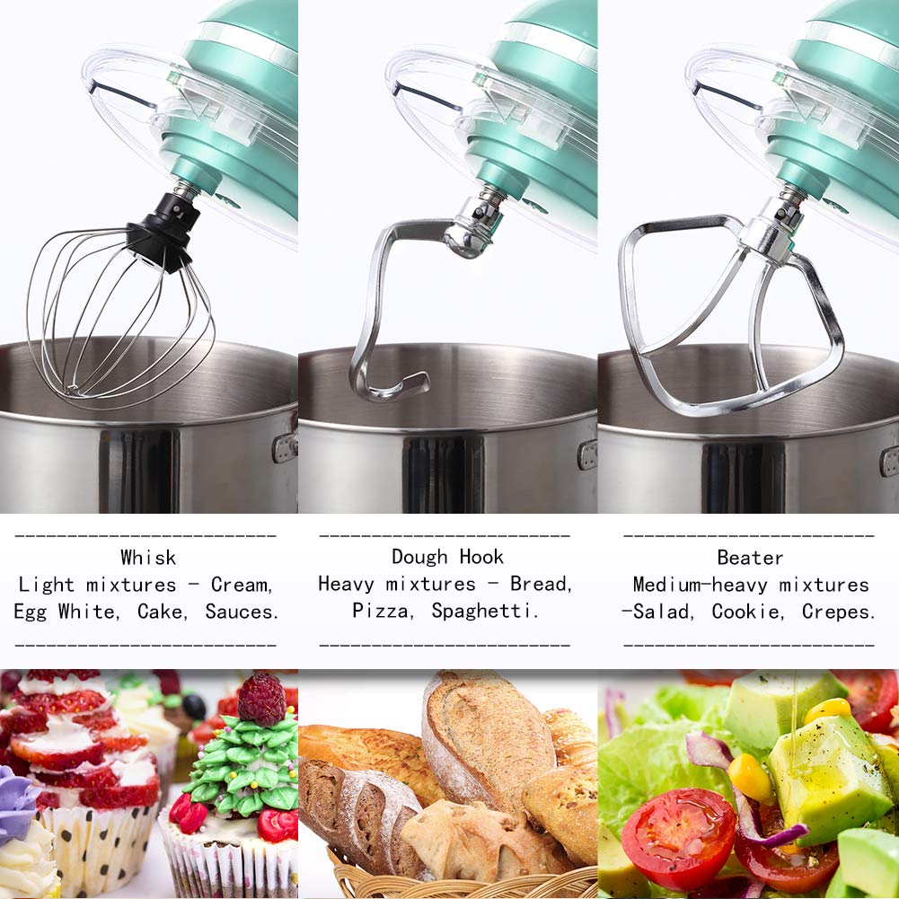 Aucma Stand Mixer,6.5-QT 660W 6-Speed Tilt-Head Food Mixer, Kitchen Electric Mixer with Dough Hook, Wire Whip & Beater (6.5QT, Blue) by AUCMA (Image #4)