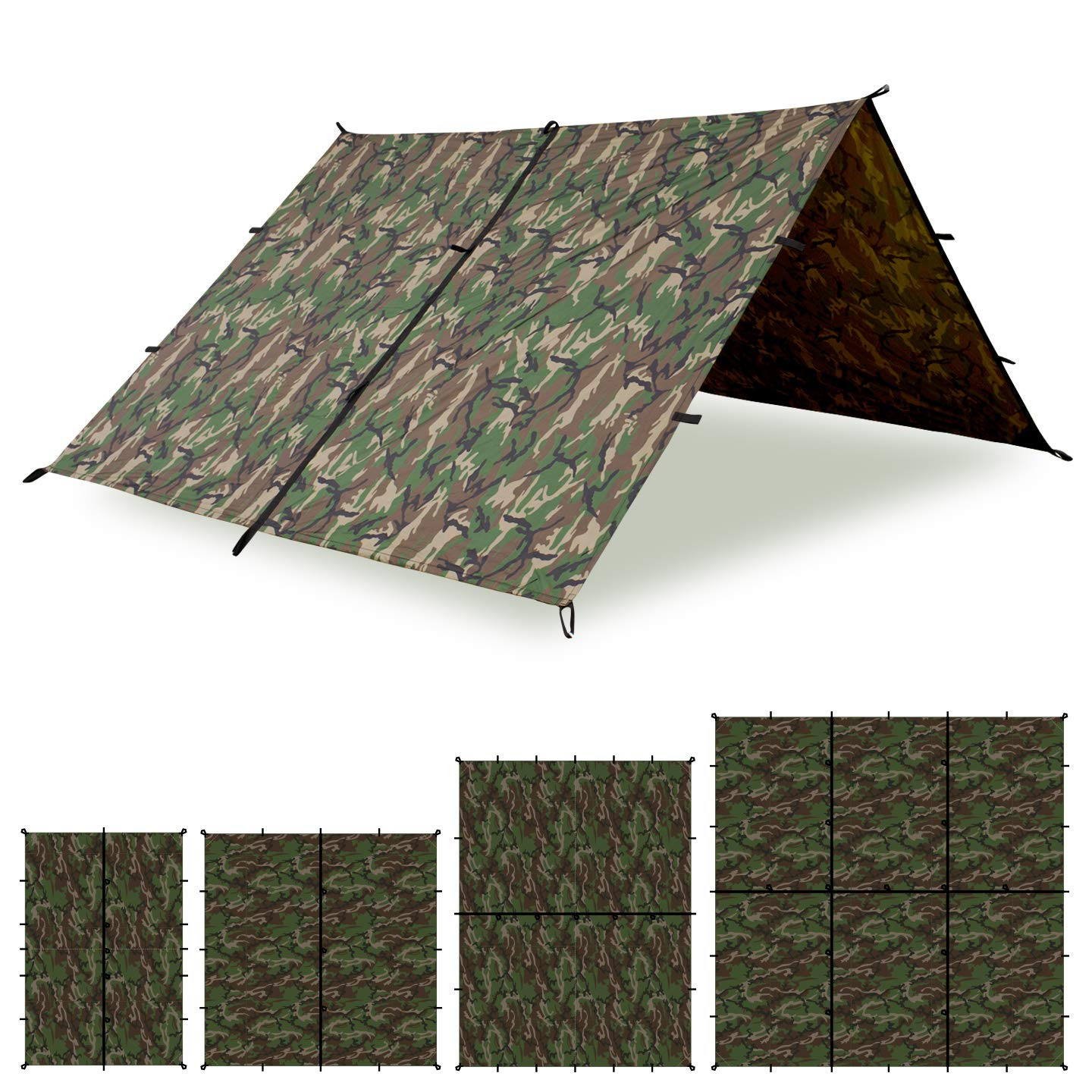 Aqua Quest Defender King Kamo Tarp - 100% Waterproof Heavy Duty Nylon Bushcraft Survival Shelter - 13x10 Camo by Aqua Quest