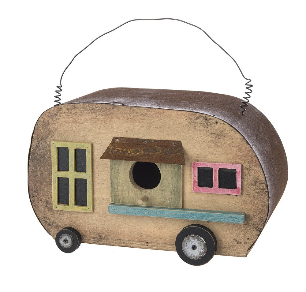 Camper Trailer Distressed Look 10 x 7 Inch Wood Birdhouse