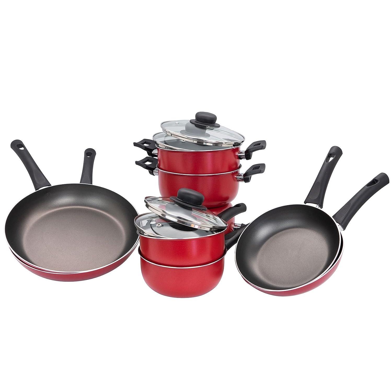 Illa Alegría de 12 piezas antiadherente sartén/un cazo/plato de la cazuela de utensilios de cocina - Rojo: Amazon.es: Hogar