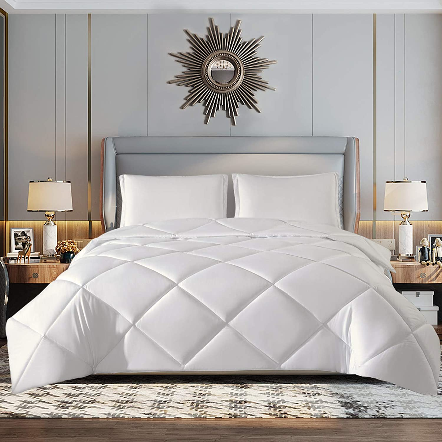 TOPLUXE Twin Comforter Sets, 2 Piece Bedding Comforter Set Twin Size, All Season Down Alternative Comforter with 1 Pillow Sham - Ultra Soft Microfiber 1800 Series Hypoallergenic (Twin, White)
