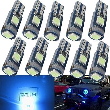 WLJH 10 unids 1.5 W Super Brillante Azul Hielo T5 74 Bombillas LED Error Coche Libre