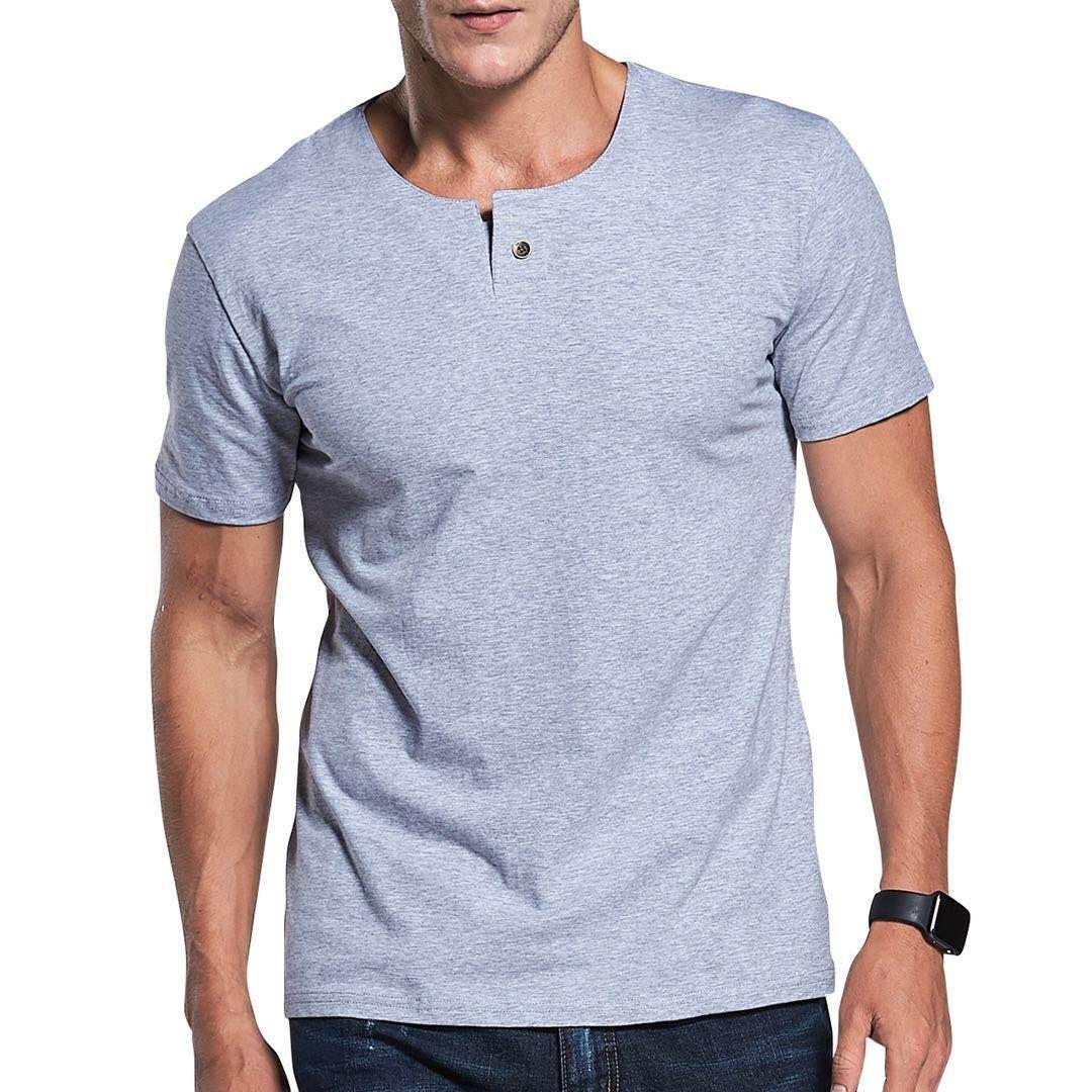 LTIFONE Mens Casual Slim fit Short Sleeve T-Shirt Single Button Placket Plain Henley v Neck Shirt(Grey,L)