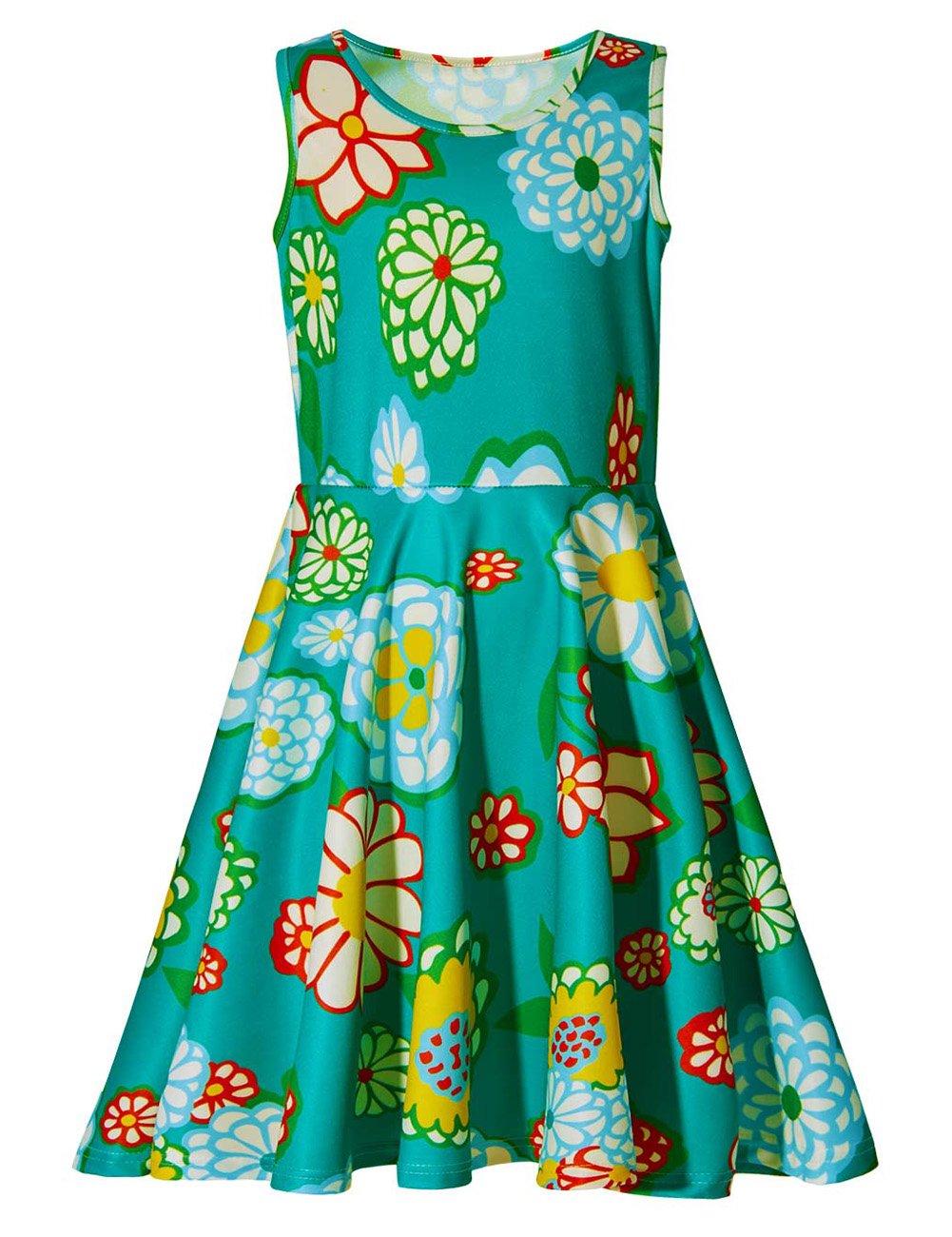 Uideazone Little Girls Print Flower Casual Sleeveless Midi Dresses Green 8-9 Years