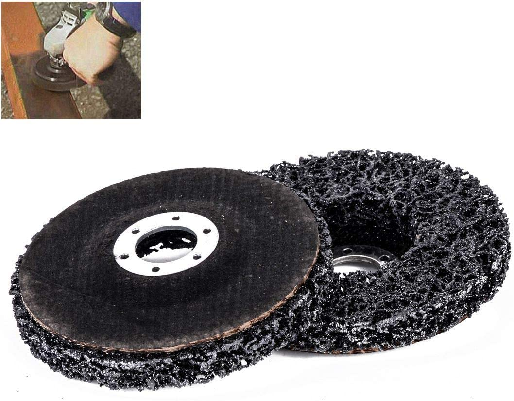 Vaorwne 2pcs Abrasive Poly Strip Disc Wheels 46 Grits 115 x 22mm Rust Paint Remover Grinding Tools For Angle Grinder