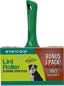 Evercare Pet Extreme Stick Plus Lint Roller Combo Pack, 180 Sheets (617132)