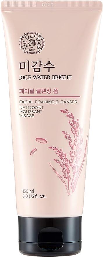 Oferta amazon: The Face Shop - Limpiador facial espumoso para el lavado diario de la cara, hidratante, con agua de arroz, para todos los tipos de piel, 150 ml/5 oz