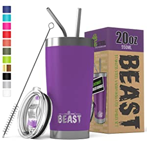 BEAST 20 oz. Tumbler Stainless Steel Vacuum Insulated Rambler Coffee Cup Double Wall Travel Flask (20 oz, Deep Purple)