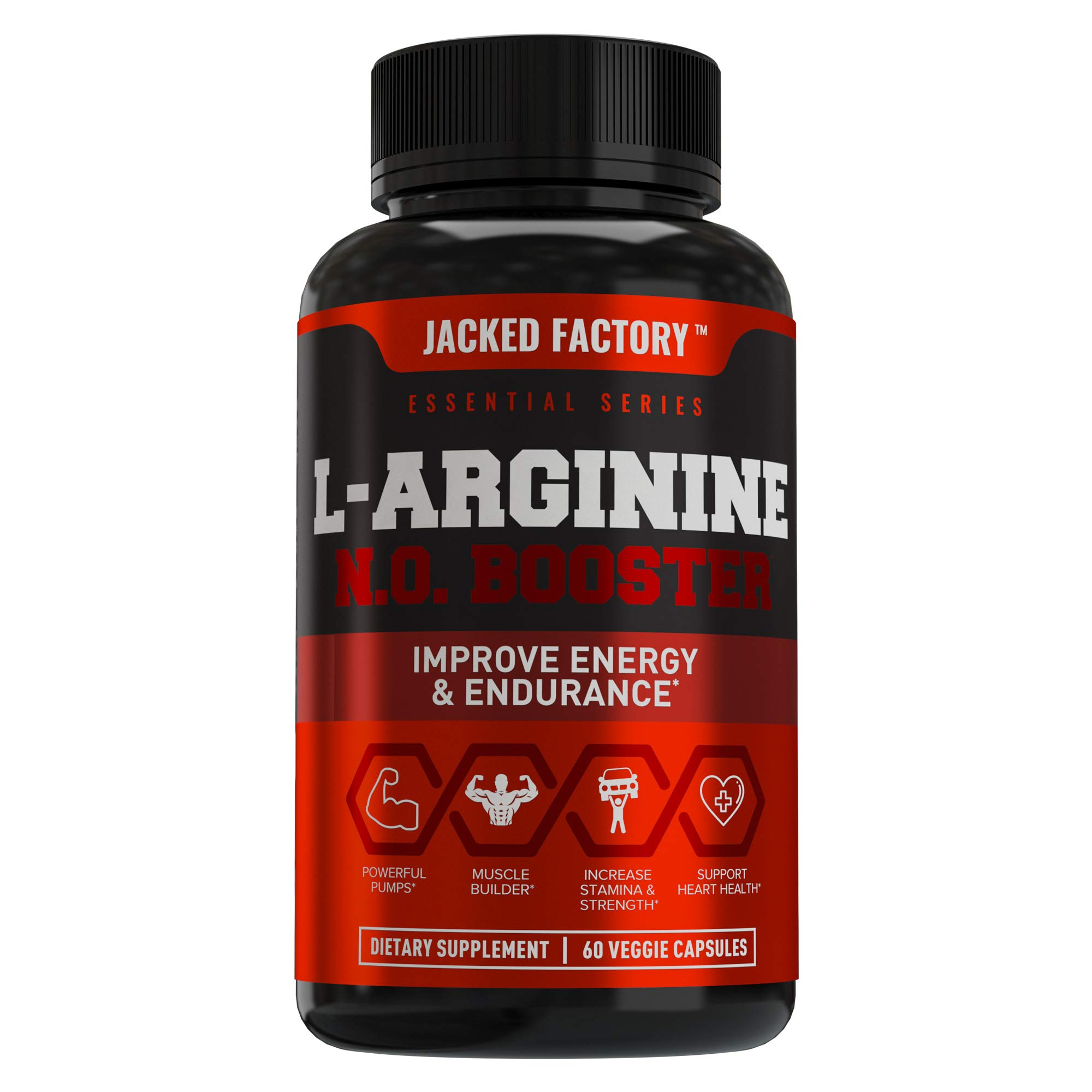L Arginine 1500mg Patented Nitrosigine - Extra Strength L-Arginine Nitric Oxide (NO) Booster Pre Workout Supplement for Muscle Growth, Pumps, Vascularity, Energy - 60 Veggie Pills by Jacked Factory