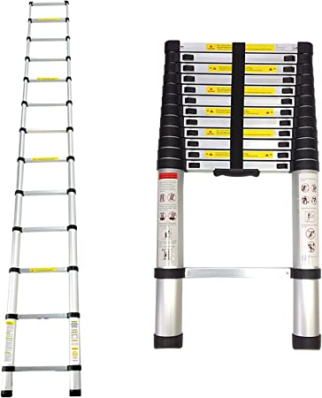 Leogreen - Escalera Telescópica, Escalera Extensible, 3,8 Metro(s), EN 131, Carga máxima: 150 kg, Distancia entre los peldaños (escalera desplegada): 30 cm: Amazon.es: Hogar