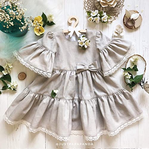6727ed349171 Amazon.com  Linen dress for girls Grey color Vintage outfit for newborn