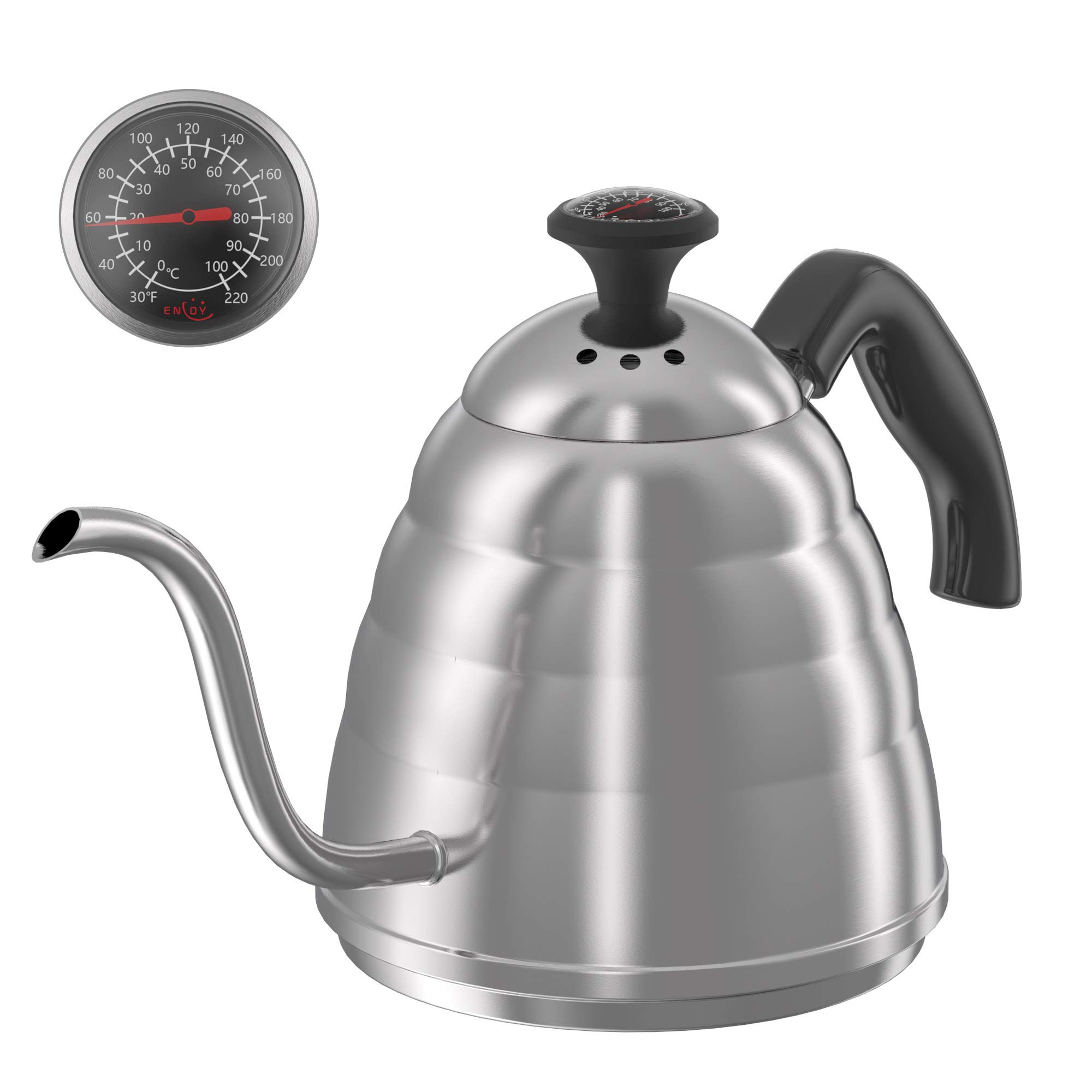 Gooseneck Pour Over Coffee Kettle, Coffee Kettle Use for Drip Coffee and Tea, Stainless Steel Pour Over Kettle with Fixed Thermometer for Exact Temperature (34floz)