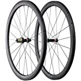 ICAN Ruote da corsa in carbonio - per copertoncino con cerchio TLR (tubeless ready) - profilo 40mm - raggi Sapim diritti