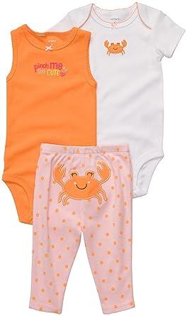 1cfe09cfac4 Amazon.com  Carters 3-pc. Crab Cutie Bodysuit Set ORANGE 9 Mo  Infant And  Toddler Pants Clothing Sets  Clothing
