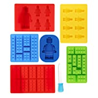 7 Piece Lego Shaped Ice Cube Tray Silicone Moulds, Sweet Moulds, Chocolate Moulds, for Kids Party's and Building Themes