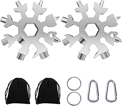 18-in-1 Stainless Steel Snowflake Standard Multitool Black Snowflake Multitool Snowflake Wrench with Key Ring Carabiner Clip and Gift Case