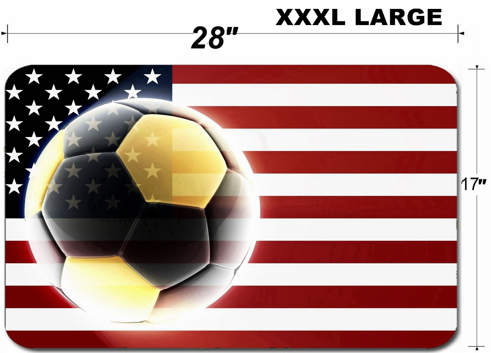 Luxlady Large Table Mat Non-Slip Natural Rubber Desk Pads Flag of United States of America national country symbol illustration sports soccer footbal