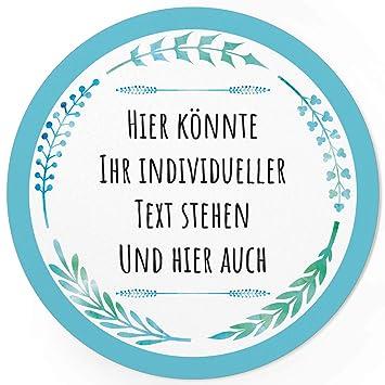 24 Individuelle Runde Etiketten Selber Gestalten Blau Grün Schlicht Personalisierte Aufkleber Für Hochzeit Geburt Gläser Taufe Konfirmation