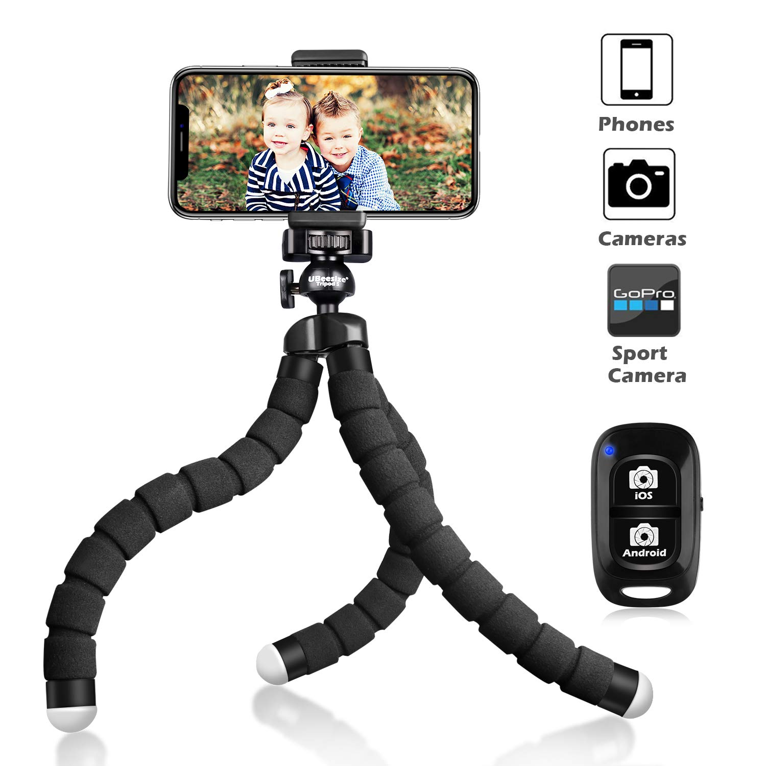 UBeesize Tripod S, Premium Phone Tripod, Flexible Tripod with Wireless Remote Shutter, Compatible with iPhone/Android Samsung, Mini Tripod Stand Holder for Camera GoPro/Mobile Cell Phone (Upgraded) by UBeesize