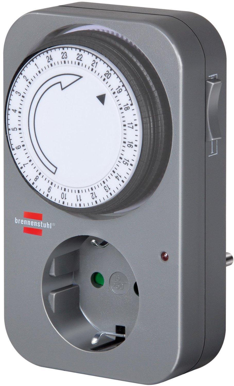 Brennenstuhl Zeitschaltuhr MZ 20 Tages-Zeitschaltuhr mit Kindersicherung Farbe: grau mechanische Timer-Steckdose mechanische Zeitschaltuhr, grau, 10