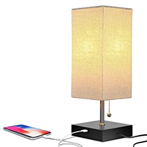 Brightech Grace LED USB Bedside Table & Desk Lamp – Modern Lamp with Soft, Ambient Light, Unique Lampshade & Functional USB Port – Perfect for Table in Bedroom, Living Room, or Office - Black