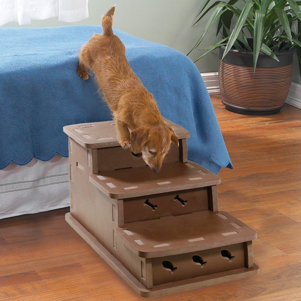 Clevr Interlocking Foam Pet Stairs & Playhouse, 3-step Portable Steps