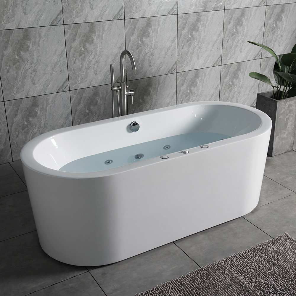 "WOODBRIDGE 67"" x 32"" Whirlpool Water Jetted and Air Bubble Freestanding  Bathtub, B-0030 / BTS1606 - - Amazon.com"