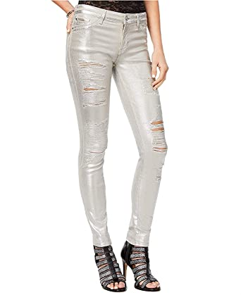 d9a99f3338a GUESS Women's Sexy Curve Metallic Ripped Skinny Jeans at Amazon Women's  Jeans store