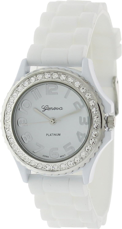 Amazon.com: Geneva Platinum CZ acentuado Link reloj de ...