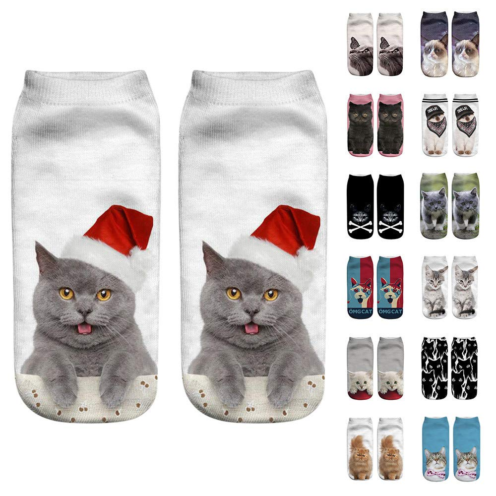 GzxtLTX Socks 3D Cat Printed Low Cut Ankle Socks Holiday Design Soft Fun Colorful Festive Fancy Christmas Gifts