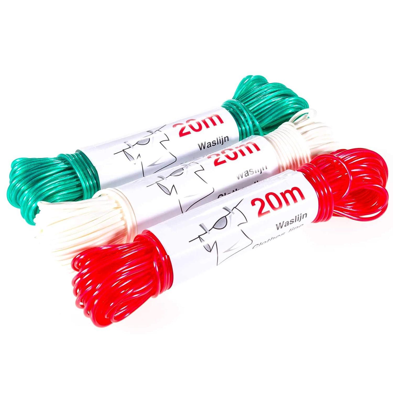 SIDCO W/äscheleine W/äscheschnur Leine Spannseil Kunststoff blau rot wei/ß 20 Meter