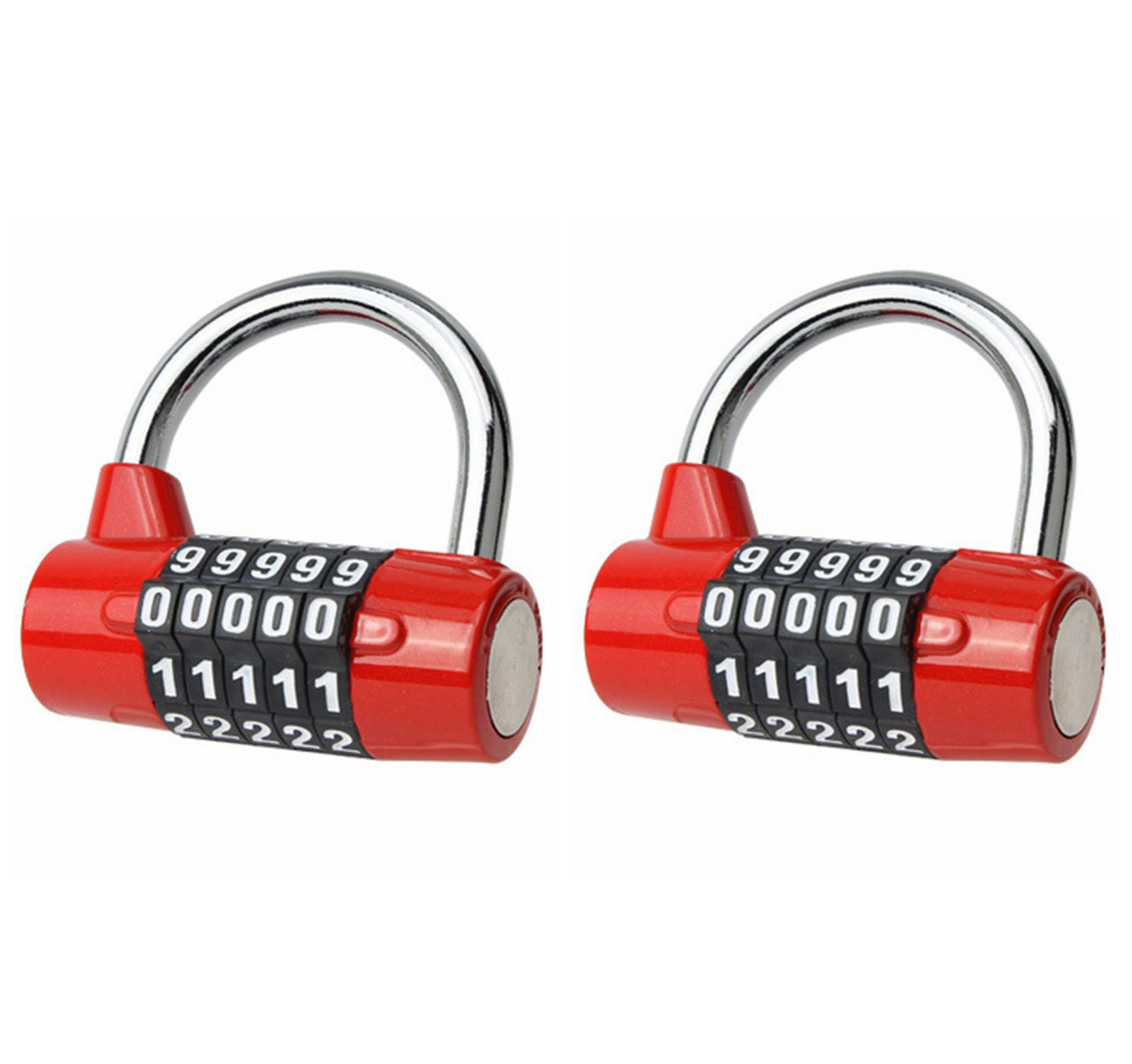L-Anan Combination Lock, 5-Digit Re-settable Padlock, Security Padlock, Gym Lock, Lock Padlock for School, Home, Office, Travel, Gym, Bicycle, Toolbox, Luggage, Cabinet (2 Pack) (Red) by L-Anan