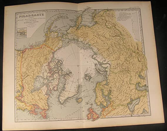 North Pole Greenland Russia Canada Britain 1868 Antique Engraved