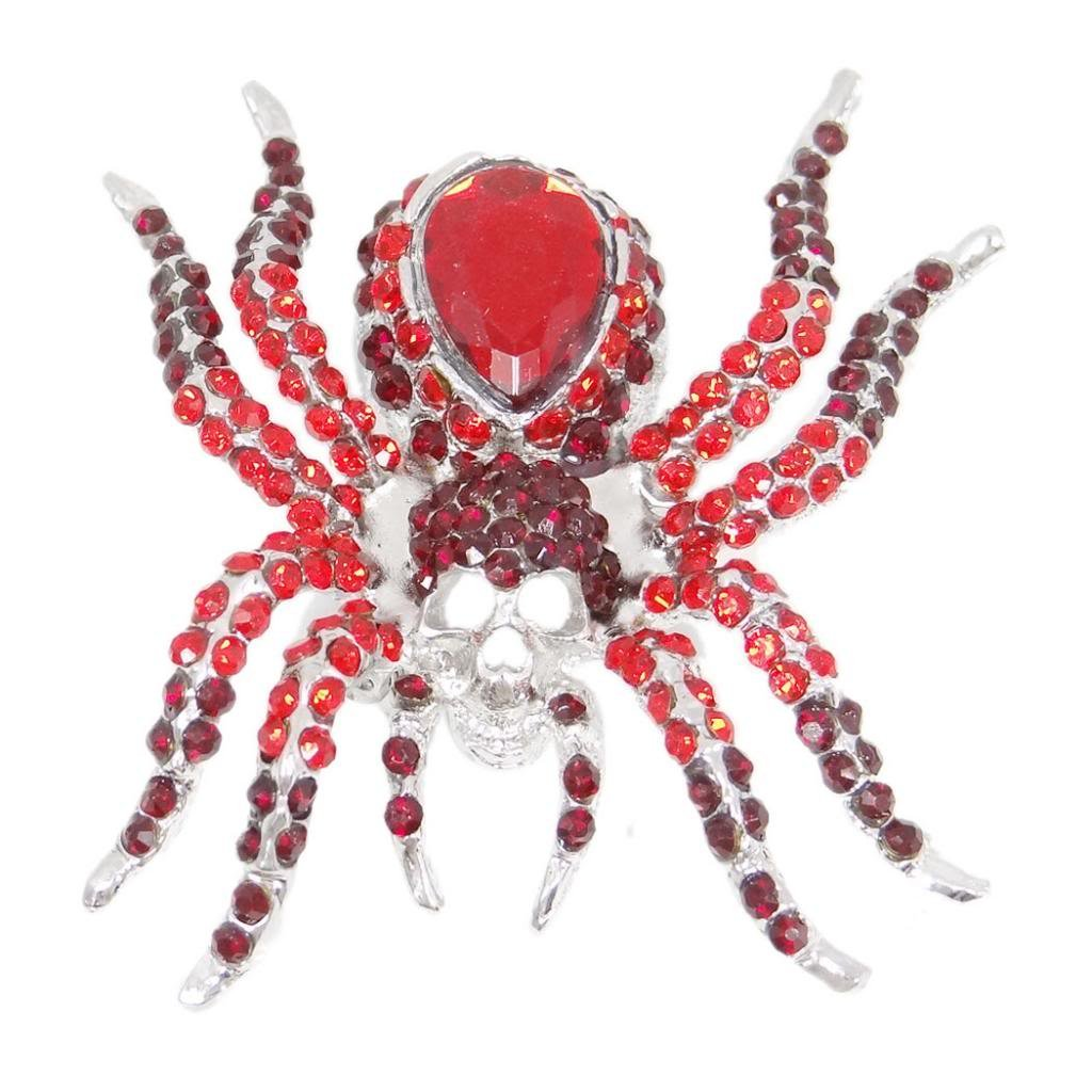 EVER FAITH Women's Austrian Crystal Vintage Style Halloween Spider Brooch Pin Red Silver-Tone