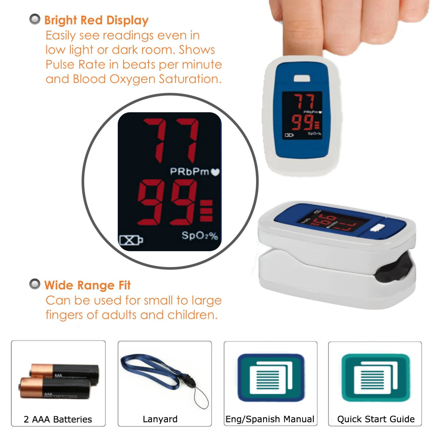 Blood Pressure Monitor + Infrared Thermometer + Fingertip Pulse Oximeter +  Vital Signs Guide Book with COPD CHF CVA Management Charts and Nutrition