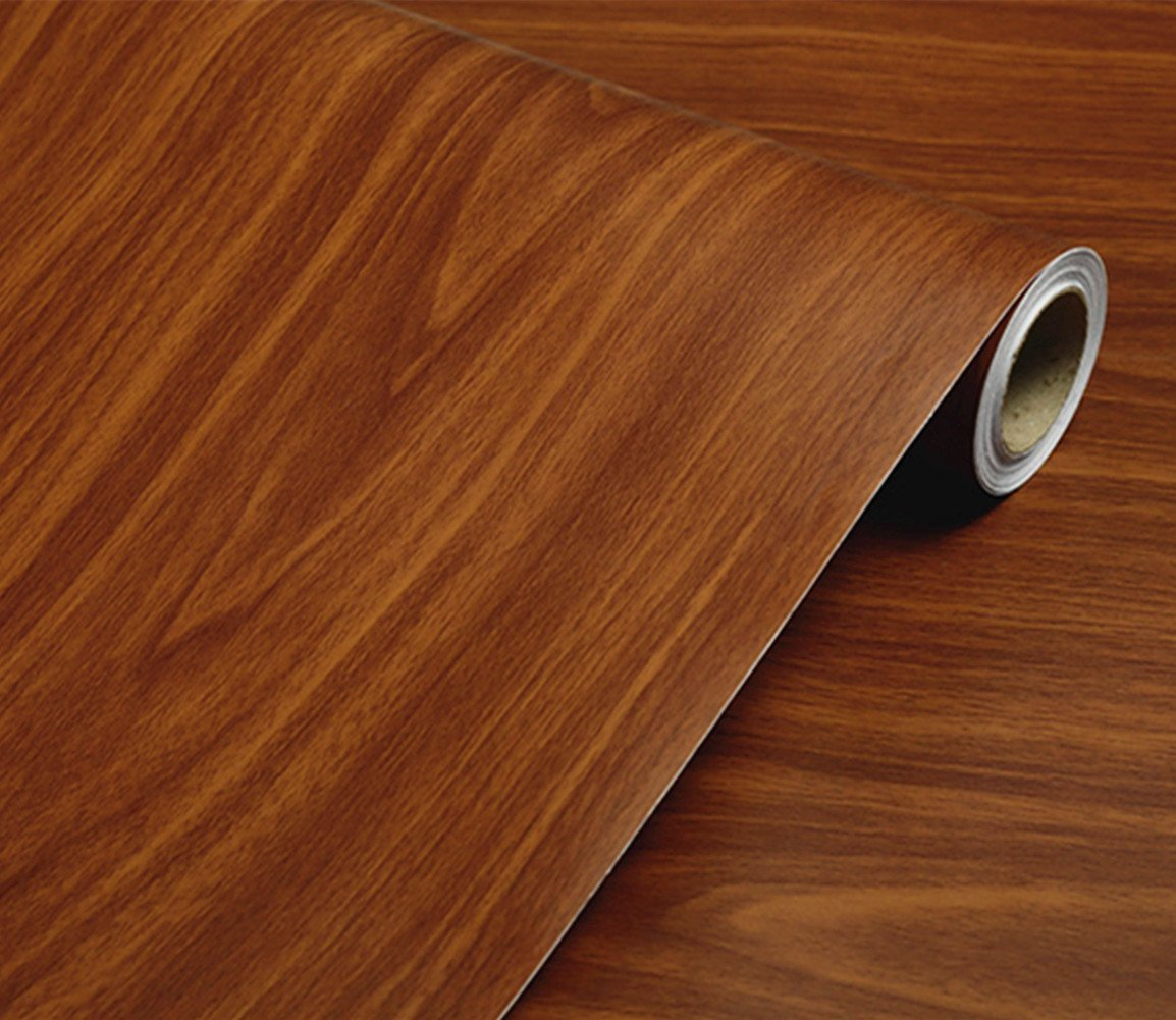 REDODECO Adhesive Wood Grain Contact Paper Peel and Stick Furniture Stickers Wallpaper Cabinets Wardrobe Contact Paper,15.8inch by 98in (Brown)