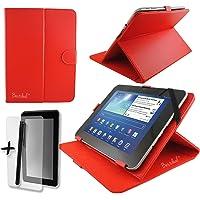 Porum Funda de Piel sintética para Tablet BENEVE de 10 Pulgadas, 10,1 Pulgadas, Incluye Protector de visualización y lápiz Capacitivo, Color Rojo