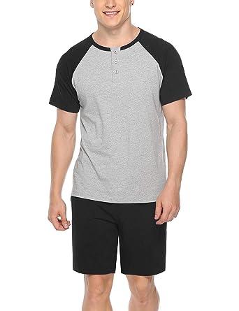 dbedcdfd9b9b iClosam Mens Cotton Short Sleeve Pajama Sets Super Soft Sleepwear Lounge Set  Black